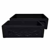 Glencove St. Ives 33'' Front Apron Fireclay Sink with an Intricate Vine Design on one side and an Elegant Beveled Front Apron on the Opposite Side In Black, 33''W x 20''D x 10''H