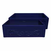 Glencove St. Ives 33'' Front Apron Fireclay Sink with an Intricate Vine Design on one side and an Elegant Beveled Front Apron on the Opposite Side In Sapphire Blue, 33''W x 20''D x 10''H