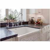 Glencove St. Ives 33'' Front Apron Fireclay Sink with an Intricate Vine Design on one side and an Elegant Beveled Front Apron on the Opposite Side In White, 33''W x 20''D x 10''H