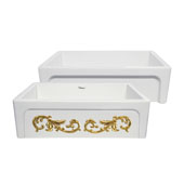 St. Ives Ornamental 33'' Reversible Fireclay Kitchen Sink with Intricate Embossed Vine Design Front Apron on one side and an Elegant Beveled Front Apron on the Opposite Side in White/Gold, 33'W x 20'D x 10'H