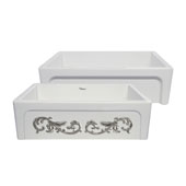 St. Ives Ornamental 33'' Reversible Fireclay Kitchen Sink with Intricate Embossed Vine Design Front Apron on one side and an Elegant Beveled Front Apron on the Opposite Side in White/Platinum, 33'W x 20'D x 10'H