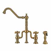 Twisthaus Plus Bridge Faucet with Long Traditional Swivel Spout, Cross Handles and Solid Brass Side Spray In Antique Brass, 10-7/8''W x 9-1/2''D x 15-1/8''H