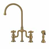 Twisthaus Plus Bridge Faucet with Long Traditional Swivel Spout, Lever Handles and Solid Brass Side Spray In Antique Brass, 14-7/8''W x 9-1/2''D x 15-1/8''H