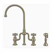 Twisthaus Plus Bridge Faucet with Long Traditional Swivel Spout, Lever Handles and Solid Brass Side Spray In Brushed Nickel, 14-7/8''W x 9-1/2''D x 15-1/8''H