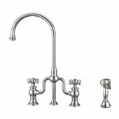 Twisthaus Plus Bridge Faucet with Long Traditional Swivel Spout, Lever Handles and Solid Brass Side Spray In Polished Chrome, 14-7/8''W x 9-1/2''D x 15-1/8''H