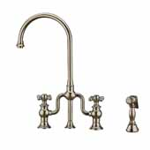 Twisthaus Plus Bridge Faucet with Long Traditional Swivel Spout, Lever Handles and Solid Brass Side Spray In Polished Nickel, 14-7/8''W x 9-1/2''D x 15-1/8''H