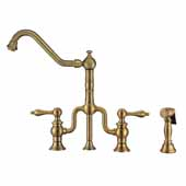 Twisthaus Plus Bridge Faucet with Gooseneck Swivel Spout, Cross Handles and Solid Brass Side Spray In Antique Brass, 10-7/8''W x 8-3/8''D x 17-3/4''H