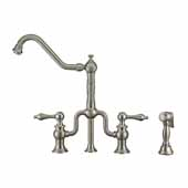 Twisthaus Plus Bridge Faucet with Gooseneck Swivel Spout, Cross Handles and Solid Brass Side Spray In Brushed Nickel, 10-7/8''W x 8-3/8''D x 17-3/4''H