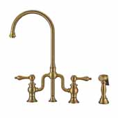 Twisthaus Plus Bridge Faucet with Gooseneck Swivel Spout, Lever Handles and Solid Brass Side Spray In Antique Brass, 14-7/8''W x 8-3/8''D x 17-3/4''H