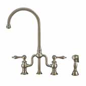 Twisthaus Plus Bridge Faucet with Gooseneck Swivel Spout, Lever Handles and Solid Brass Side Spray In Brushed Nickel, 14-7/8''W x 8-3/8''D x 17-3/4''H