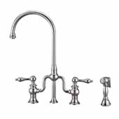 Twisthaus Plus Bridge Faucet with Gooseneck Swivel Spout, Lever Handles and Solid Brass Side Spray In Polished Chrome, 14-7/8''W x 8-3/8''D x 17-3/4''H