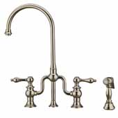 Twisthaus Plus Bridge Faucet with Gooseneck Swivel Spout, Lever Handles and Solid Brass Side Spray In Polished Nickel, 14-7/8''W x 8-3/8''D x 17-3/4''H