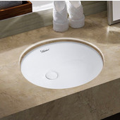 Isabella Plus Collection 16'' Oval Undermount Basin w/ Overflow & Rear Center Drain  , White