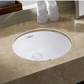 Isabella Plus Collection 18'' Oval Undermount Basin w/ Overflow & Rear Center Drain  , White