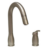 Two Hole Kitchen Faucet w/ Pull-Out Spray Head in Brushed Nickel