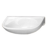 Small Wall Mounted China Bath Basin with Single Faucet Hole on Left Side
