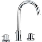Luxe Widespread Bathroom Faucet with Cross Handles and Tubular Swivel Spout in Brushed Nickel (Shown in Polished Chrome)