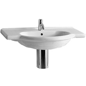 White China Vanity Basin with Chrome Overflow 35-1/4''W x 19-5/8''D x 8-1/4''H