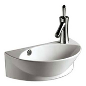 Isabella Half-Oval Wall Mount Basin with Integrated Oval Bowl, Overflow, Right Offset Single Faucet Hole and Center Drain, White, 17-3/8''W x 10-5/8''D x 5-7/8''H