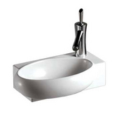 Isabella Rectangular Wall Mount Basin with Integrated Oval Bowl and Right Offset Single Faucet Hole, White, 16-7/8''W x 11''D x 5-1/8''H