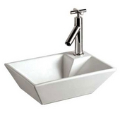 Isabella Rectangular Wall Mount Basin and a Right Offset Single Faucet Hole, White, 10-1/4''W x 14-1/8''D x 4-3/4''H