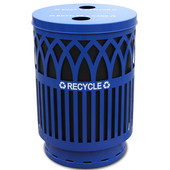 Covington Collection Recycling Receptacle with Recycling Flat Top, Plastic Liner, Blue, 40 gal., 24'' Dia. x 34-1/2''H