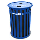 Oakley Slatted Metal Recycling Receptacle with Recycling Flat Top, Plastic Liner, Blue, 50 gal., 28'' Dia. x 36''H