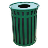 Oakley Slatted Metal Waste Receptacle with Flat Top, Plastic Liner, 28'' Dia. x 36''H, 50 gal, Green