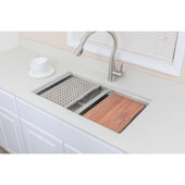 32'' Undermount Double Bowl Stainless Steel Kitchen Sink Set with Colanders and Cutting Board, 32'' W x 19'' D x 10'' H