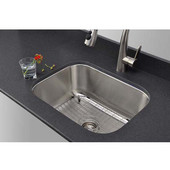 16 Gauge Single-Bowl Undermount Stainless Steel Sink Package w/ Grid and Strainer, 23''W x 17 3/4''D x 9''H