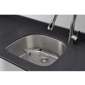 D-shape Undermount Stainless Steel Sink, Includes Protection Grid and Strainer, 23-1/2''W x 21''D x 9''H