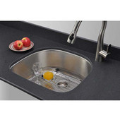 16 Gauge D-shape Single-Bowl Undermount Stainless Steel Sink Package w/ Grid and Strainer, 23-1/2''W x 21''D x 9''H