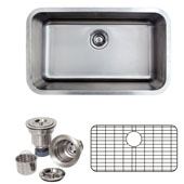 30'' Undermount Single Bowl 16-Gauge Stainless Steel Kitchen Sink with Grid Rack and Basket Strainer, 29-7/8'' W x 18-1/16'' D x 9'' H