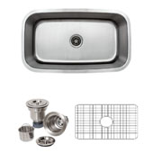 32'' Undermount Single Bowl 16-Gauge Stainless Steel Kitchen Sink with Grid Rack and Basket Strainer, 31-1/2'' W x 18-1/2'' D x 10'' H
