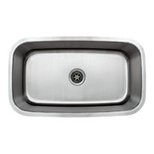 32'' Undermount Single Bowl 16-Gauge Stainless Steel Kitchen Sink, 31-1/2'' W x 18-1/2'' D x 10'' H