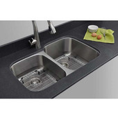 18 Gauge 40/60 Double-Bowl Undermount Stainless Steel Sink with Larger Bowl on Right Matte Finish, Package Includes 2 Protection Grids and 2 Strainers, 32''W x 20 5/8''D x 9''H