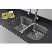 18 Gauge 60/40 Double-Bowl Undermount Stainless Steel Sink with Larger Bowl on Left Matte Finish, Package Includes 2 Protection Grids and 2 Strainers, 32''W x 20 5/8''D x 9''H