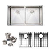 33'' Undermount 50-50 Double Bowl 16-Gauge Stainless Steel Kitchen Sink with Grid Racks and Basket Strainers, 33'' W x 19'' D x 9'' H