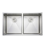 33'' Undermount 50-50 Double Bowl 16-Gauge Stainless Steel Kitchen Sink, 33'' W x 19'' D x 9'' H