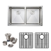 33'' Apron Front Farmhouse 50-50 Double Bowl 16-Gauge Stainless Steel Kitchen Sink with Grid Racks and Basket Strainers, 33'' W x 19'' D x 9'' H