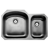 Chicago Stainless Steel Double Bowl Undermount Sink, Large Bowl left, 31-1/2''W x 20-1/2''D x 9''H