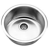 Jazz Series Stainless Steel Single Bowl Undermount/Topmount Sink, 18-1/4'' Dia. x 7-1/2''H