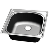 Chicago Stainless Steel Single Bowl Topmount Sink, Pre-drilled Hole on Left, 25''W x 22''D x 9-1/8''H