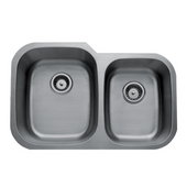 Craftsmen Series Stainless Steel Double Bowl Undermount Sink, 16 Gauge, Large Bowl Left, 32''W x 20-1/2''D x 9''H
