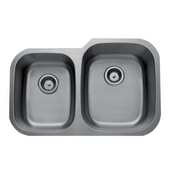 Craftsmen Series Stainless Steel Double Bowl Undermount Sink, 16 Gauge, Large Bowl Right, 32''W x 20-1/2''D x 9''H