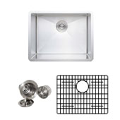 23'' Undermount Single Bowl 16-Gauge Stainless Steel Kitchen Sink Set with Grid Rack and Basket Strainer, 23'' W x 18'' D x 10'' H