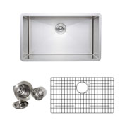 30'' Undermount Single Bowl 16-Gauge Stainless Steel Kitchen Sink Set with Grid Rack and Basket Strainer, 30'' W x 18'' D x 10'' H