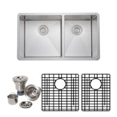 33'' 16-Gauge Undermount Double Bowl Stainless Steel Kitchen Sink with Grid Racks and Basket Strainers, 32-3/4'' W x 19'' D x 10'' H