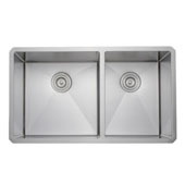 33'' 16-Gauge Undermount Double Bowl Stainless Steel Kitchen Sink, 32-3/4'' W x 19'' D x 10'' H