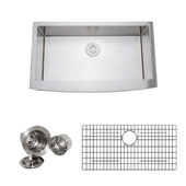 36'' Arched Apron Front Farmhouse Single Bowl 16-Gauge Stainless Steel Kitchen Sink Set with Grid Racks and Basket Strainers, 35-22/25'' W x 20-3/4'' D x 10'' H
